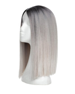 Lace Front Perücke – Straight Short O1.2/10.5 Black Brown/Grey 35 cm