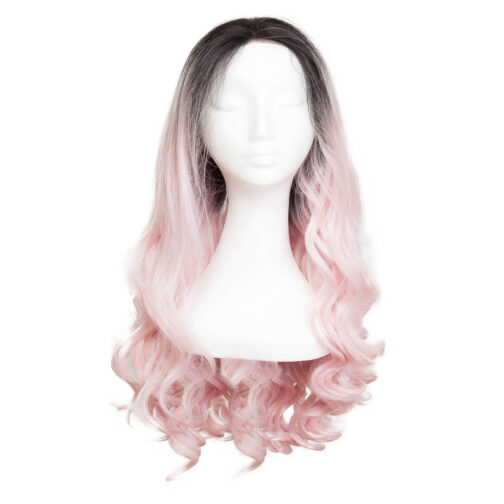 Lace Front Perücke Long Curly O1.2/99.2 Black Brown/Pink 60 cm