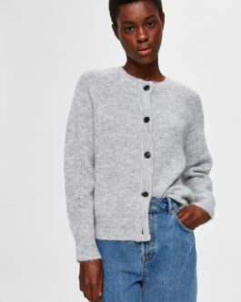 Cardigan med uld – Light Grey
