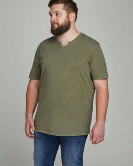Split Neck Tee Plus Size – Dusky green